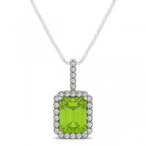 Diamond & Emerald Cut Peridot Halo Pendant Necklace 14k White Gold (1.19ct)