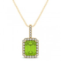 Diamond & Emerald Cut Peridot Halo Pendant Necklace 14k Yellow Gold (1.19ct)