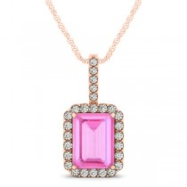 Diamond & Emerald Cut Pink Sapphire Halo Pendant Necklace 14k Rose Gold (4.25ct)