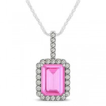 Diamond & Emerald Cut Pink Sapphire Halo Pendant Necklace 14k White Gold (4.25ct)