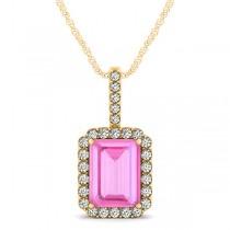 Diamond & Emerald Cut Pink Sapphire Halo Pendant Necklace 14k Yellow Gold (4.25ct)