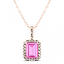 Diamond & Emerald Cut Pink Sapphire Halo Pendant Necklace 14k Rose Gold (1.34ct)