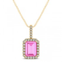 Diamond & Emerald Cut Pink Sapphire Halo Pendant Necklace 14k Yellow Gold (1.34ct)