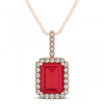 Diamond & Emerald Cut Ruby Halo Pendant Necklace 14k Rose Gold (3.65ct)