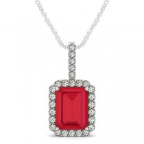 Diamond & Emerald Cut Ruby Halo Pendant Necklace 14k White Gold (4.25ct)