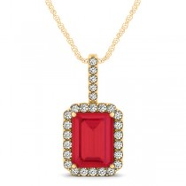 Diamond & Emerald Cut Ruby Halo Pendant Necklace 14k Yellow Gold (4.25ct)