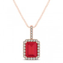 Diamond & Emerald Cut Ruby Halo Pendant Necklace 14k Rose Gold (1.34ct)