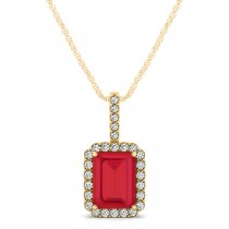 Diamond & Emerald Cut Ruby Halo Pendant Necklace 14k Yellow Gold (1.34ct)