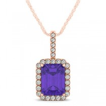 Diamond & Emerald Cut Tanzanite Halo Pendant Necklace 14k Rose Gold (4.25ct)