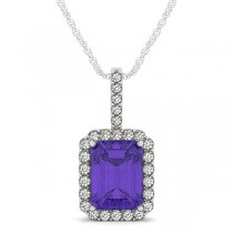 Diamond & Emerald Cut Tanzanite Halo Pendant Necklace 14k White Gold (4.25ct)