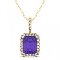 Diamond & Emerald Cut Tanzanite Halo Pendant Necklace 14k Yellow Gold (4.25ct)