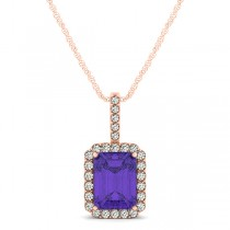 Diamond & Emerald Cut Tanzanite Halo Pendant Necklace 14k Rose Gold (1.34ct)