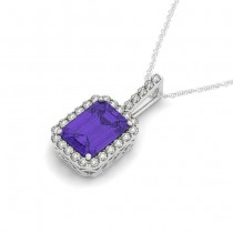 Diamond & Emerald Cut Tanzanite Halo Pendant Necklace 14k White Gold (1.34ct)