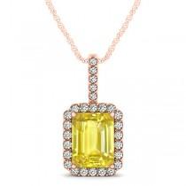 Diamond & Emerald Cut Yellow Sapphire Halo Pendant Necklace 14k Rose Gold (3.65ct)