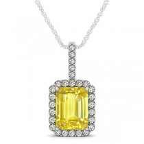 Diamond & Emerald Cut Yellow Sapphire Halo Pendant Necklace 14k White Gold (4.25ct)