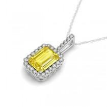 Diamond & Emerald Cut Yellow Sapphire Halo Pendant Necklace 14k White Gold (4.25ct)