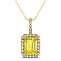 Diamond & Emerald Cut Yellow Sapphire Halo Pendant Necklace 14k Yellow Gold (4.25ct)