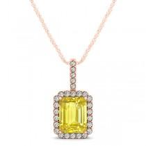 Diamond & Emerald Cut Yellow Sapphire Halo Pendant Necklace 14k Rose Gold (1.34ct)