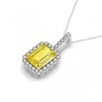 Diamond & Emerald Cut Yellow Sapphire Halo Pendant Necklace 14k White Gold (1.34ct)