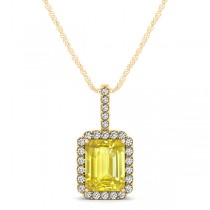 Diamond & Emerald Cut Yellow Sapphire Halo Pendant Necklace 14k Yellow Gold (1.34ct)