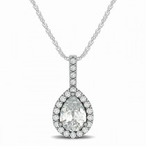 Pear Shape Diamond Halo Pendant Necklace 14k White Gold (1.25ct)