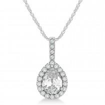Pear Shape Diamond Halo Pendant Necklace 14k White Gold (0.95ct)
