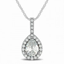 Pear Shape Diamond Halo Pendant Necklace 14k White Gold (2.20ct)