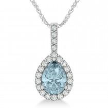 Pear Shape Diamond & Aquamarine Halo Pendant 14k White Gold 2.20ct
