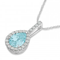 Pear Shape Diamond & Aquamarine Halo Pendant 14k White Gold 2.20ct