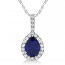 Pear Shape Diamond & Blue Sapphire Halo Pendant 14k White Gold 2.20ct