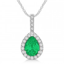 Pear Shape Diamond & Emerald Halo Pendant 14k White Gold 2.20ct