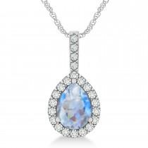 Pear Shape Diamond & Moonstone Halo Pendant 14k White Gold 2.20ct