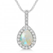 Pear Shape Diamond & Opal Halo Pendant 14k White Gold 2.20ct
