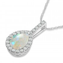 Pear Shape Diamond & Opal Halo Pendant 14k White Gold 2.20ct