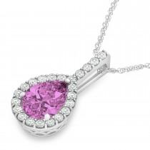 Pear Shape Diamond & Pink Sapphire Halo Pendant 14k White Gold 2.20ct
