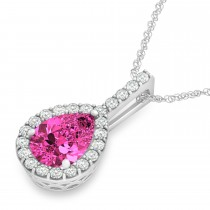 Pear Shape Diamond & Pink Tourmaline Halo Pendant 14k White Gold 2.20ct
