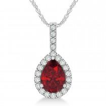 Pear Shape Diamond & Ruby Halo Pendant 14k White Gold 2.20ct