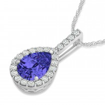 Pear Shape Diamond & Tanzanite Halo Pendant 14k White Gold 2.20ct