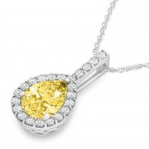 Pear Shape Diamond & Yellow Sapphire Halo Pendant 14k White Gold 2.20ct|escape
