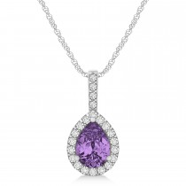 Pear Shape Diamond & Amethyst Halo Pendant 14k White Gold 1.25ct