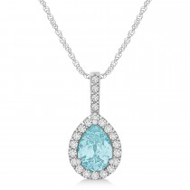Pear Shape Diamond & Aquamarine Halo Pendant 14k White Gold 1.25ct