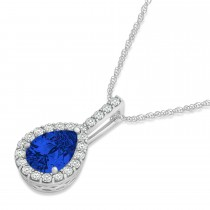 Pear Shape Diamond & Blue Sapphire Halo Pendant 14k White Gold 1.25ct