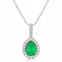 Pear Shape Diamond & Emerald Halo Pendant 14k White Gold 1.25ct