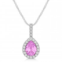 Pear Shape Diamond & Pink Sapphire Halo Pendant 14k White Gold 1.25ct