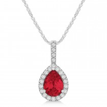 Pear Shape Diamond & Ruby Halo Pendant 14k White Gold 1.25ct