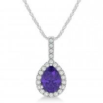 Pear Shape Diamond & Tanzanite Halo Pendant 14k White Gold 1.25ct