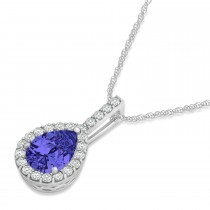 Pear Shape Diamond & Tanzanite Halo Pendant 14k White Gold 1.25ct