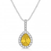 Pear Shape Diamond & Yellow Sapphire Halo Pendant 14k White Gold 1.25ct