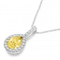 Pear Shape Diamond & Yellow Sapphire Halo Pendant 14k White Gold 1.25ct