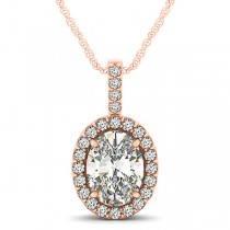 Diamond Halo Oval Pendant Necklace 14k Rose Gold (2.76ct)
